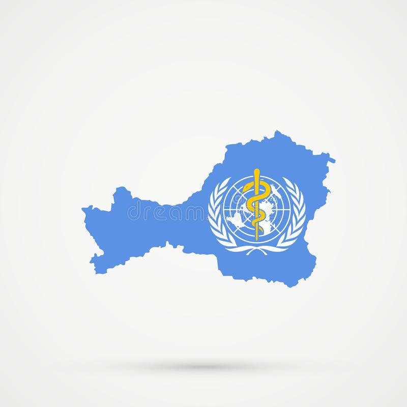 Mapa en colores de la bandera del WHO de la Organización Mundial de la Salud, vector editable de Tuva Republic libre illustration