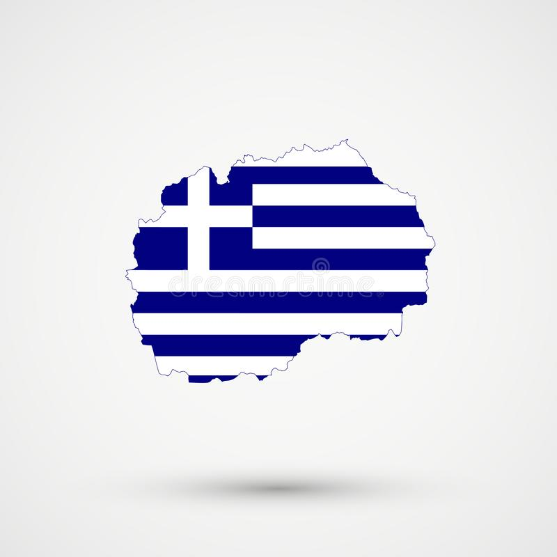 Mapa en colores de la bandera de Grecia, vector editable de Macedonia stock de ilustración