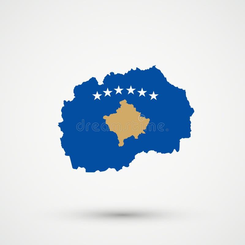 Mapa en colores de la bandera de Kosovo, vector editable de Macedonia ilustración del vector