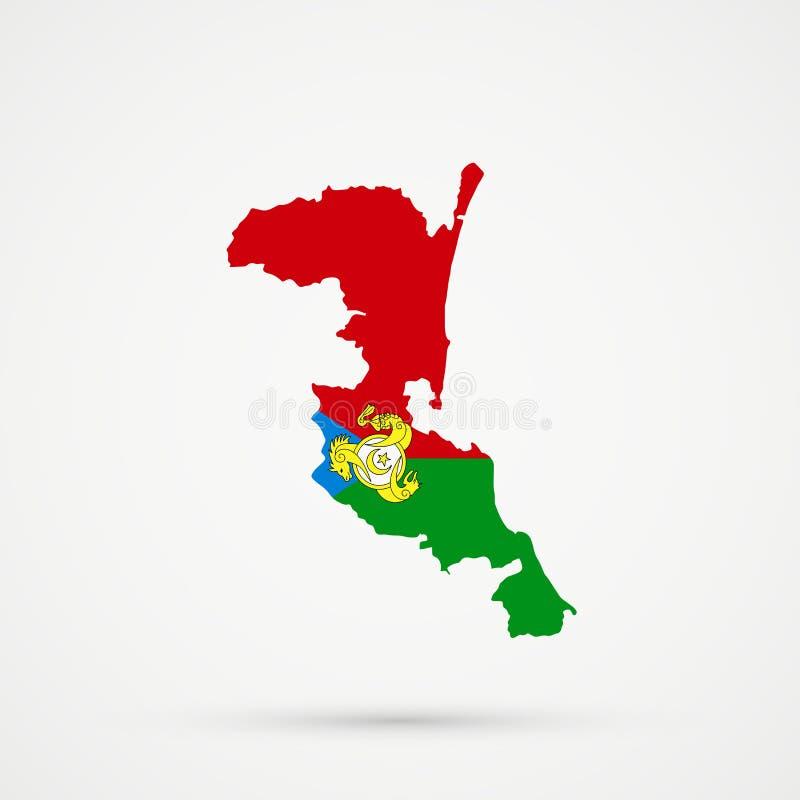 Mapa en colores de la bandera de Kumyks, vector editable de Kumykia Daguestán libre illustration