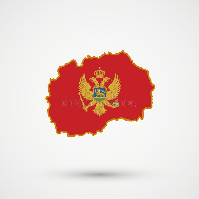 Mapa en colores de la bandera de Montenegro, vector editable de Macedonia libre illustration