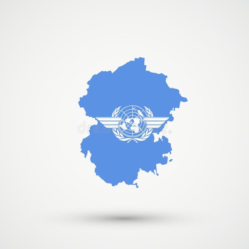 Mapa en colores de la bandera de la Organización de la Aviación Civil Internacional de ICAO, vector editable de Chuvashia ilustración del vector