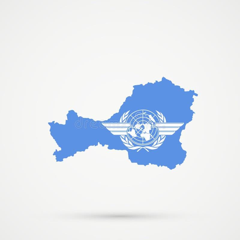 Mapa en colores de la bandera de la Organización de la Aviación Civil Internacional ICAO, vector editable de Tuva Republic ilustración del vector