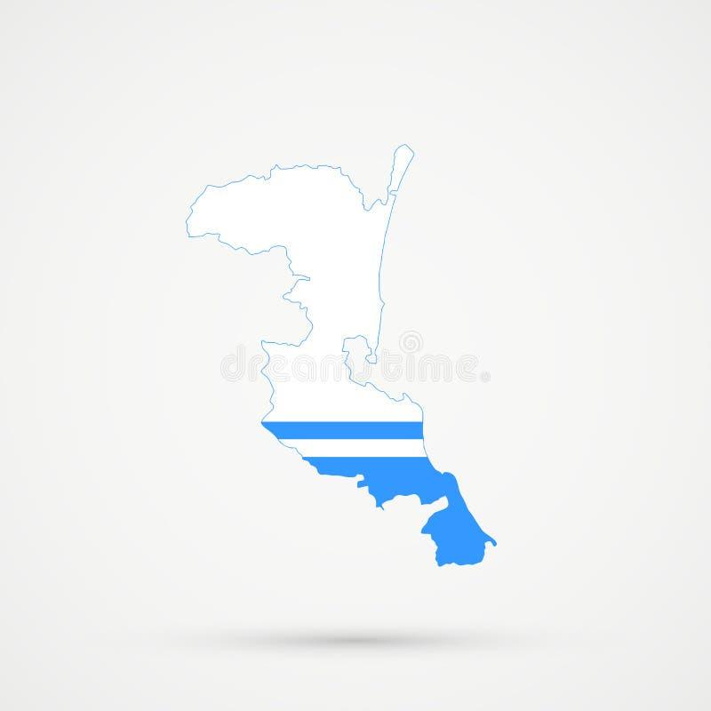 Mapa en colores de la bandera de la república de Altai, vector editable de Kumykia Daguestán stock de ilustración