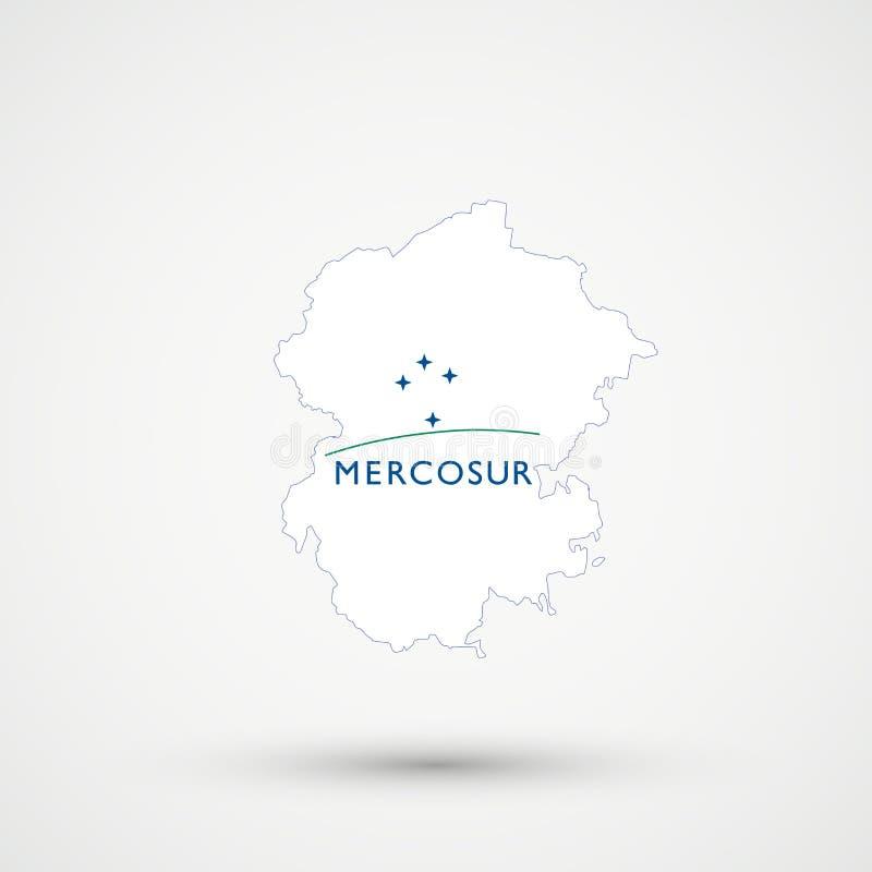 Mapa en colores meridionales de la bandera de MERCOSUR del mercado común, vector editable de Chuvashia ilustración del vector
