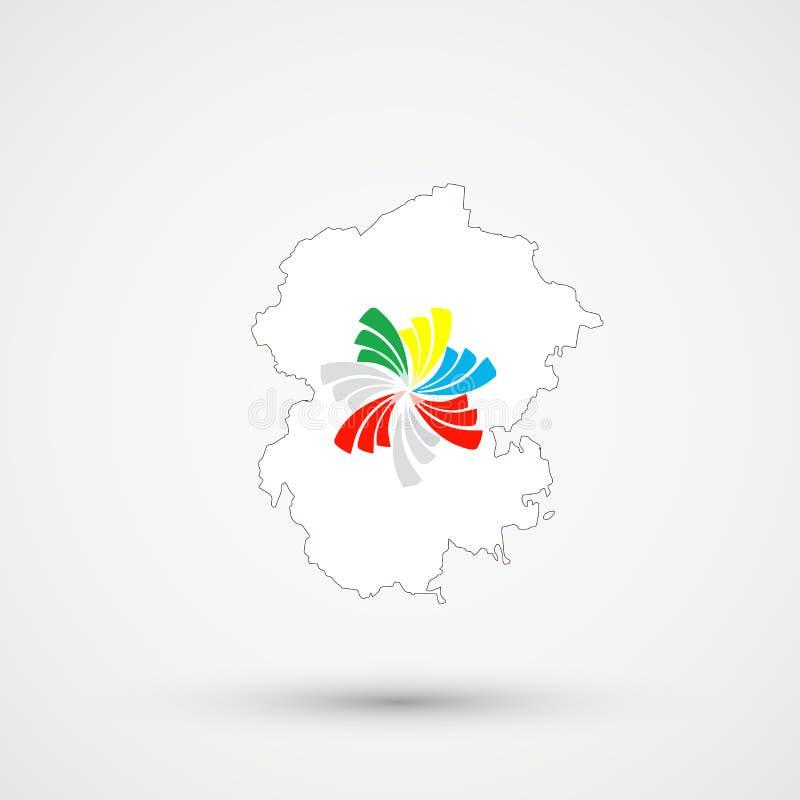 Mapa en colores pacíficos de la bandera de Alliance, vector editable de Chuvashia stock de ilustración