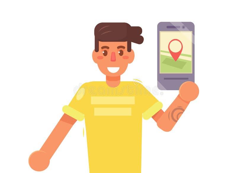 Mapa en el smartphone Vector historieta libre illustration