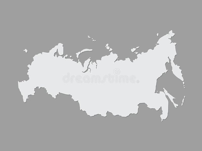Mapa entero y completo fresco y simple blanco y negro de Rusia en fondo oscuro libre illustration