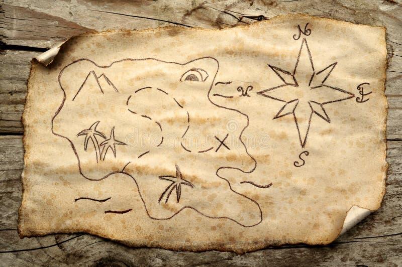 Mapa envejecido del tesoro imágenes de archivo libres de regalías