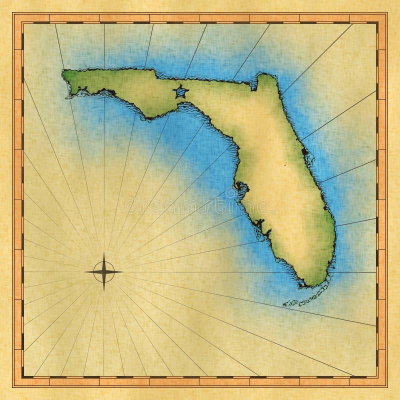 Mapa envelhecido de Florida ilustração do vetor