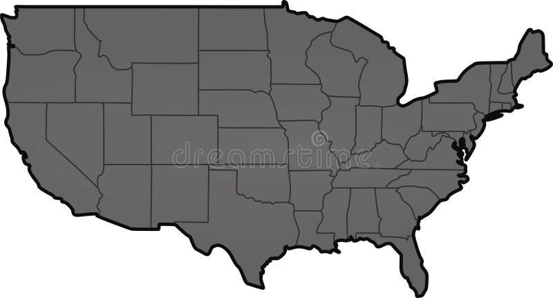 Mapa escuro dos EUA do cinza ilustração stock