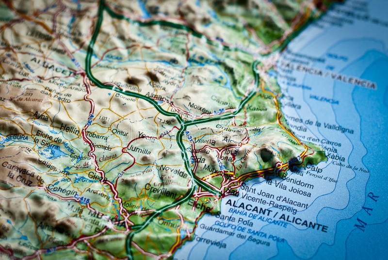 Mapa espanhol de Costa Blanca Alicante, Espanha foto de stock