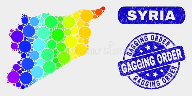 Mapa espectral de Síria do mosaico e selo da ordem de colocação de mordaça do Grunge ilustração do vetor