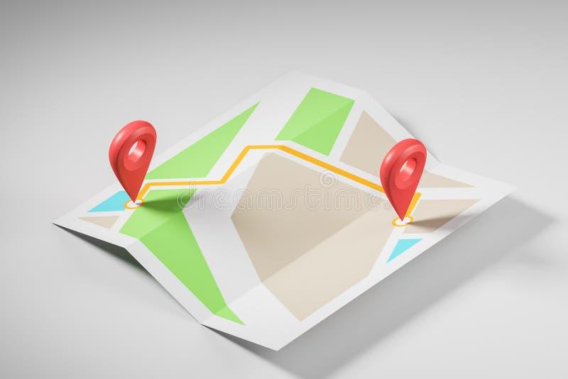 Mapa esquemático con dos indicadores rojos libre illustration