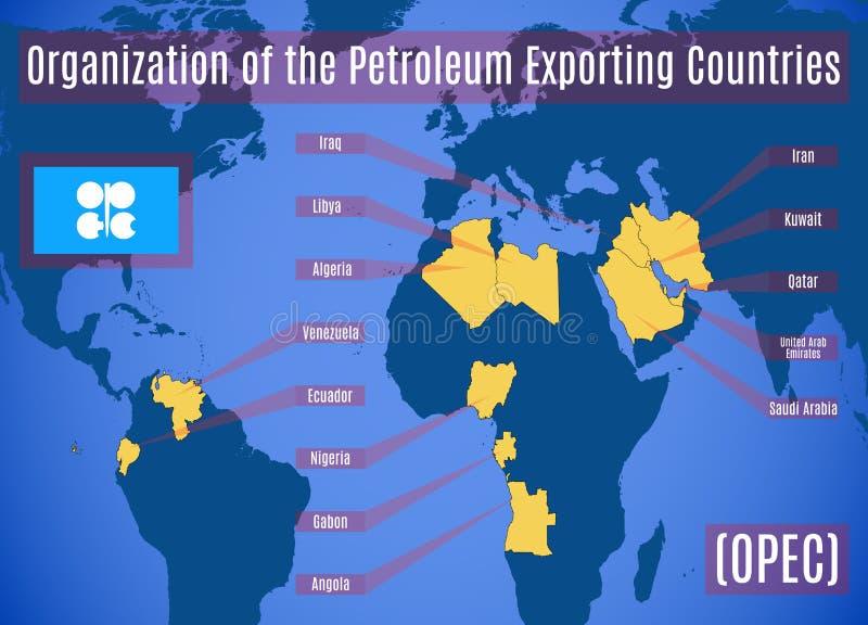 Mapa esquemático de la organización de los países exportadores de petróleo stock de ilustración
