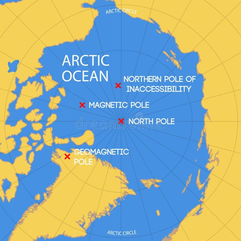 Mapa esquemático de la ubicación del polo de la inaccesibilidad, del norte stock de ilustración