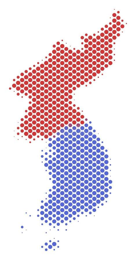 Mapa esquemático de semitono de Corea del norte y sur stock de ilustración