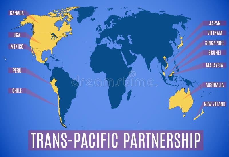 Mapa esquemático del vector de la sociedad transpacífica TPP libre illustration