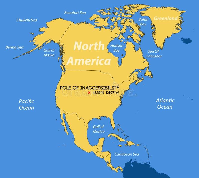 Mapa esquemático do vetor Polo de inacessibilidade norte-americano ilustração royalty free