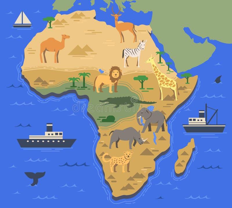 Mapa estilizado de África con los animales indígenas y los símbolos de la naturaleza Mapa geográfico simple Ejemplo plano del vec stock de ilustración