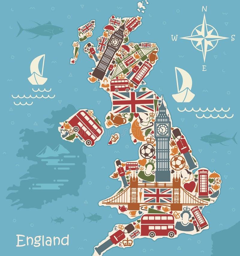 Mapa estilizado de Grâ Bretanha ilustração royalty free