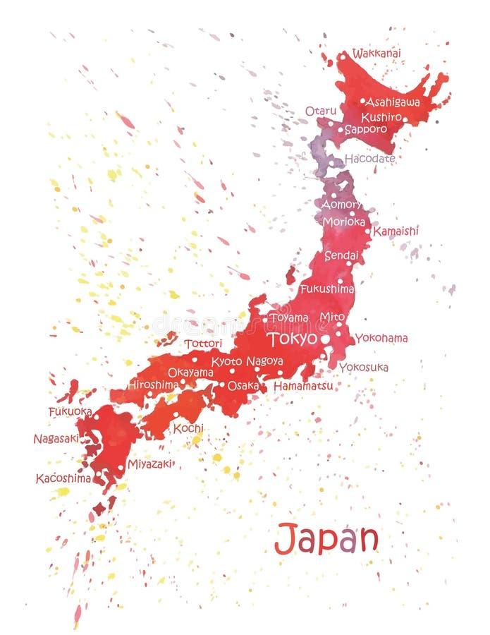 Mapa estilizado de Japão ilustração stock