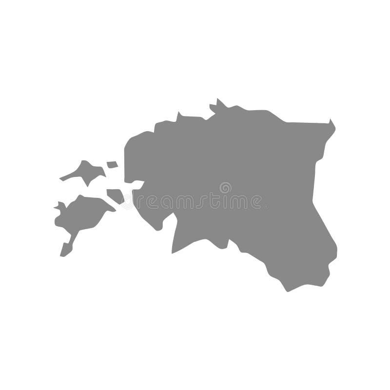 Mapa Estonia del vector Ilustraci?n aislada del vector Gris en el fondo blanco Ejemplo del EPS stock de ilustración