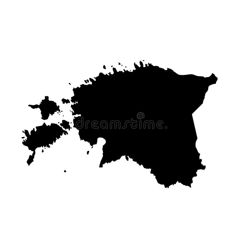 Mapa Estonia del vector Ilustraci?n aislada del vector Negro en el fondo blanco stock de ilustración