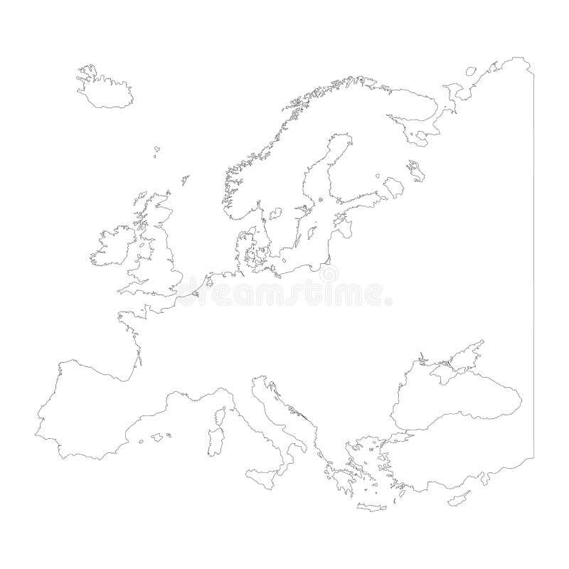 Mapa Europa konturu projekt odizolowywa na bielu ilustracji