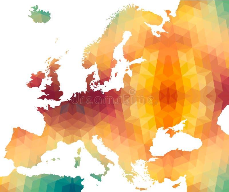 Mapa europeo del estilo poligonal stock de ilustración