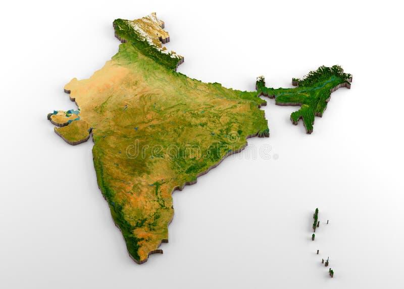 Mapa físico da Índia 3D com relevo ilustração royalty free