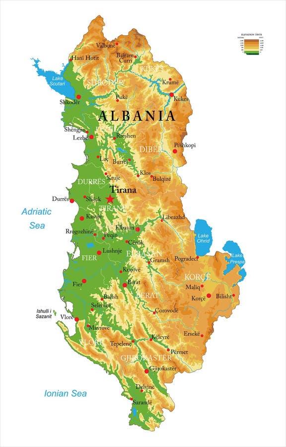 Mapa físico de Albânia imagens de stock