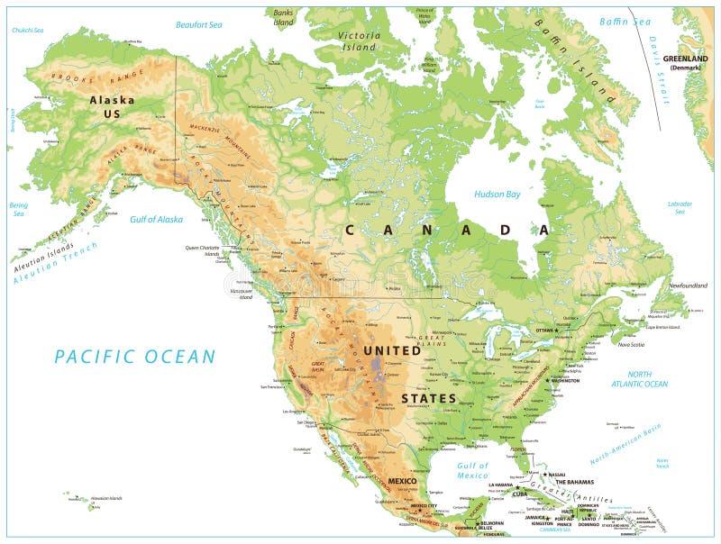 Mapa físico de America do Norte isolado no branco ilustração stock