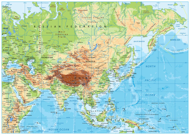 Mapa físico de Asia ilustración del vector