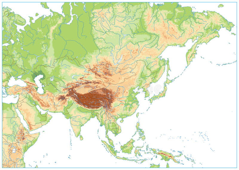 Mapa Mudo De Asia Relieve.Mapa Fisico De Asia Aislado En Blanco Ningui N Texto