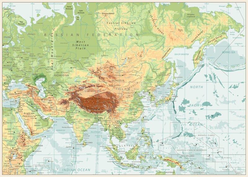 Mapa físico de Asia con los ríos, los lagos y las elevaciones ilustración del vector