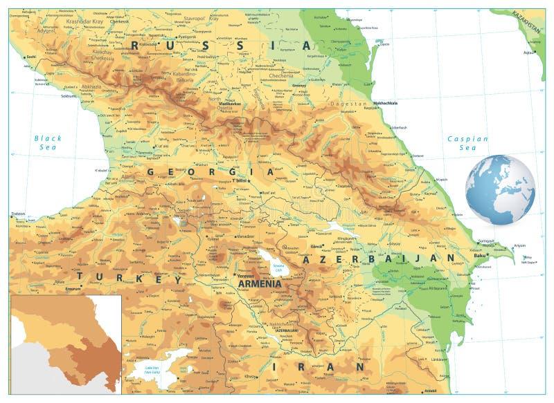 Mapa físico de Cáucaso isolado no branco ilustração royalty free