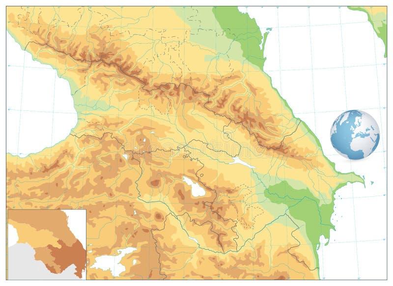 Mapa físico de Cáucaso isolado no branco NENHUM texto ilustração royalty free