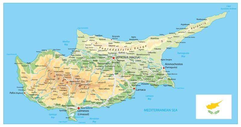 Mapa físico de Chipre stock de ilustración