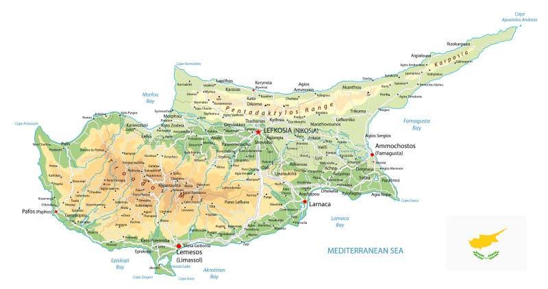 Mapa físico de Chipre aislado en blanco ilustración del vector