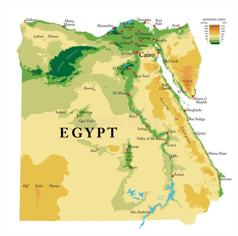 Mapa físico de Egito ilustração royalty free