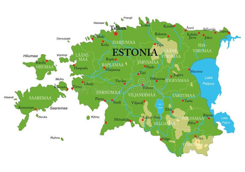 Mapa físico de Estonia stock de ilustración