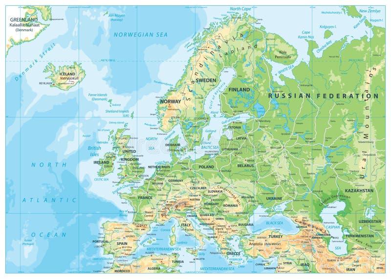 Mapa físico de Europa libre illustration