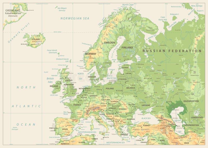 Mapa físico de Europa Colores retros Ninguna batimetría ilustración del vector