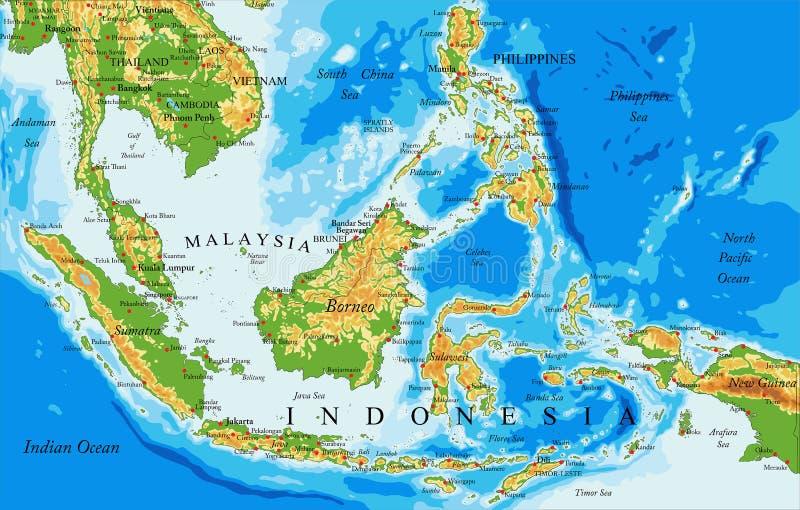 Mapa físico de Indonesia ilustración del vector