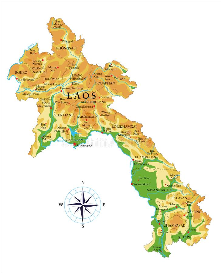 Mapa físico de Laos ilustração royalty free