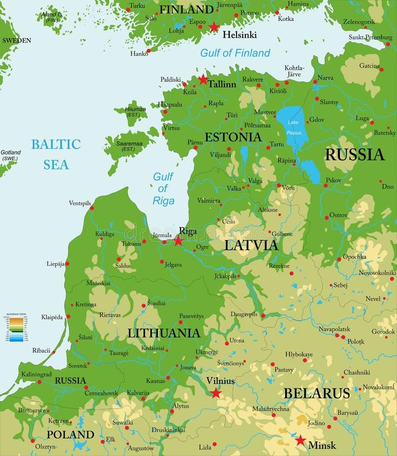 Mapa físico de los países bálticos libre illustration