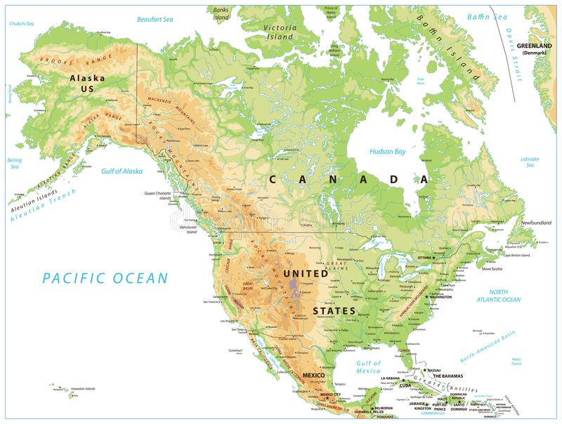 Mapa físico de Norteamérica aislado en blanco stock de ilustración