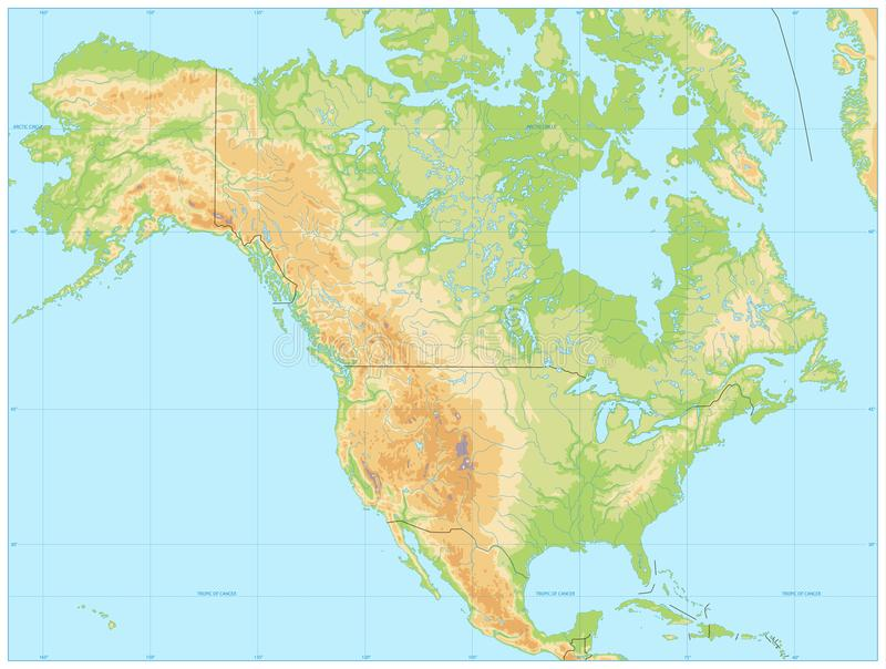 Mapa físico de Norteamérica NINGÚN texto stock de ilustración