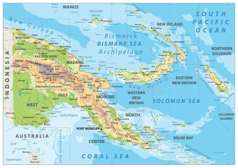 Mapa físico de Papúa Nueva Guinea stock de ilustración